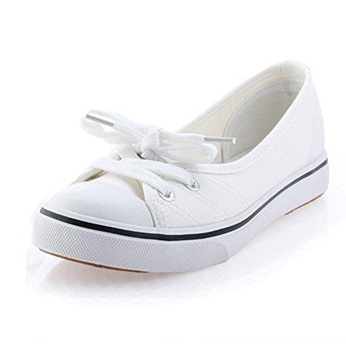 Minetom Donne Ragazze Moda Punta Rotonda Scarpe Di Tela Tallone Piano Espadrillas Loafer Scarpe Bianco 35