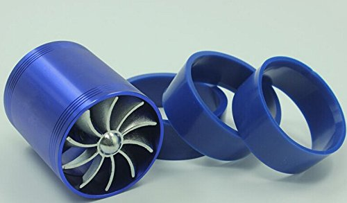 E93+F1-Z Double Supercharger Universal Turbine Turb Air Intake Fuel Gas Saver Fan Blue/Black (Blow Off Valve For Honda Civic Si compare prices)