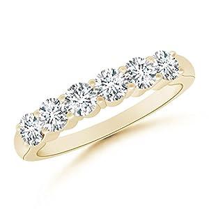 Round Diamond Half Eternity Wedding Band in 14K Yellow Gold