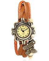 Montre Bracelet Papillon PU Cuir Quartz Classique Tressé Rétro Femme Mode Watch Orange