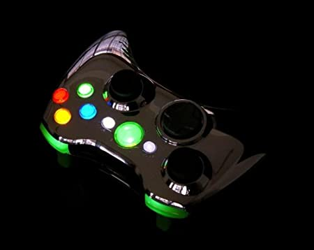 Green Chrome XCM LED Lighted Xbox 360 Wireless Controller Shell (custom mod)