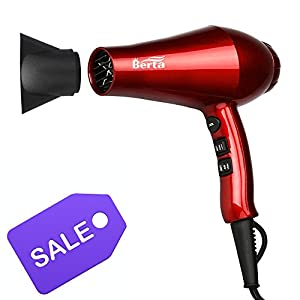 Berta 1875 Watts Blow Dryer 2 Speed and 3 Heating Ceramic Negative Ions Hair Dryer with DC Motor 1.8m Cord US plug 125V