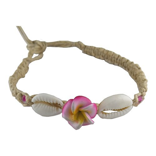 Hawaiian Hemp Plumeria Flower Shell Bracelet