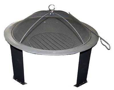Round Outdoor Garden Patio Open Bowl Enamelled Steel Fire Pit Black from Bentley BBQ