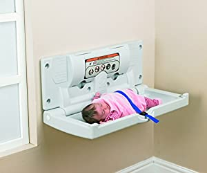 "White Horizontal Wall Mounted Baby Changing Table - Reliable, Strong, Hygiene Plastic H: 40cm (16"") W: 46cm (18) L: 86cm (34"")"