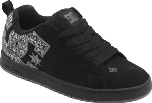DC Men's Court Graffik SE Skate Shoe,Black/Carbon/Print,10 M US