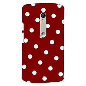ColourCrust Motorola Moto X Style Mobile Phone Back Cover With Red And White Polka Dots Pattern Style - Durable Matte Finish Hard Plastic Slim Case