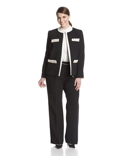 Tahari by ASL Women's Plus Jacket with Contrast Trim