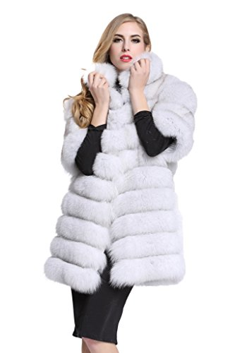 [Topfur Women's Whole Fox Fur White Coat with Stand Collar Warm Outerwear(US 18)] (Faux Chain Hooded Costumes)