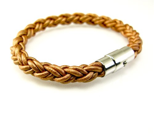 Bronze Braided Leather Cord Bracelet With Stainless Steel Magnetic Clasp