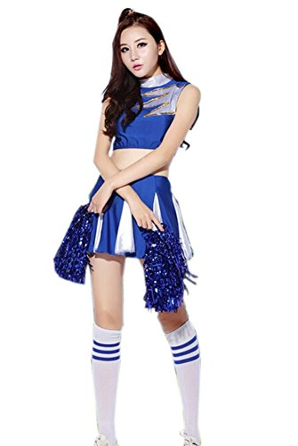 Cheerleader Costume/ Cheerleading Uniform BLUE Size L, Dress, Socks & Poms