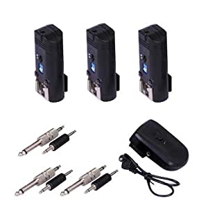 Kaavie -Channel 4 - PT-04A -Déclencheur de flash à distance et Trigger Studio 20 m avec adaptateurs de synchronisation 3.5mm & 6,35 mm pour Nikon, Canon, Pentax, Olympus Systems (1 gâchette et 3 récepteurs fixés)