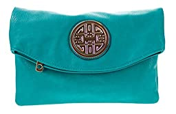 Canal Collection Multi Purpose Soft Foldable PVC Cross Body Clutch with Emblem (Turquoise)