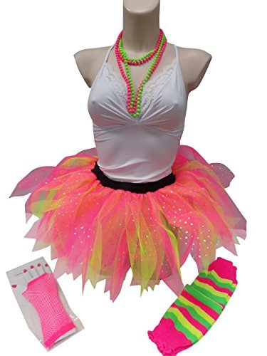 Neon 5 Layer Ruffle Diamante Princess Tutu Skirt Set Pink Green Honey B's® - Standard or Plus Size