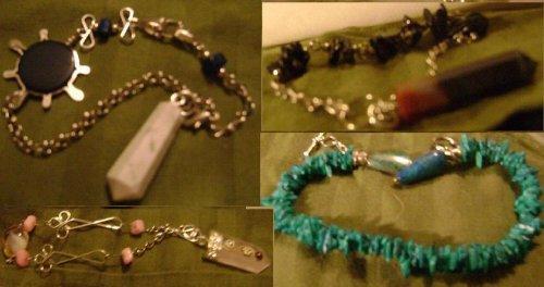 Gemstone Ruby Kynite Garnet Turquoise Lapis Amethyst Pendulum Bracelet Mini Dowsing Disk Kit