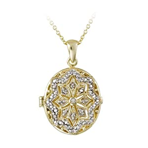 Accent Filigree Oval Locket Necklace: Pendant Necklaces: Jewelry