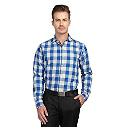 British Line Blue color Checked Slim Fit Shirt