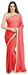 AVSAR PRINTS Women's Georgette Saree with Blouse Piece (Red)