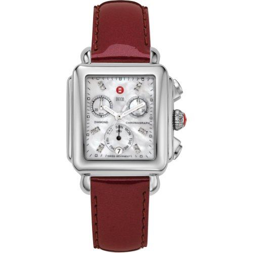 31f11d471 Michele Watches Women s Signature Deco Diamond Dial Scarlet Patent Leather