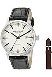 Stuhrling Original Classic Ascot II Mens Designer Watch - Swiss Quartz Date Display Wrist Watch for Men - Black Leather Strap with Interchangeable Brown Leather Strap 555A.03