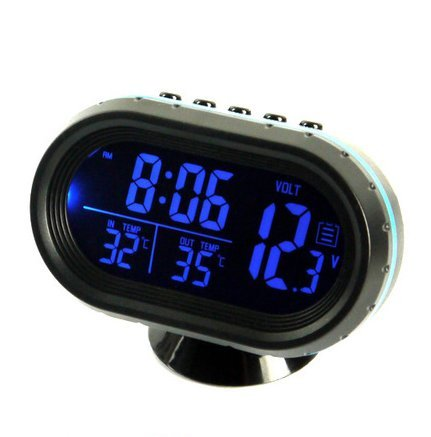 Multi-function Car Voltage Alarm Temperature Thermometer Digital Clock LCD Display with Backlight Options (Blue/green)