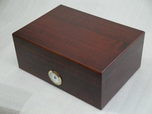 Humidor hold 50 cigars hygrometer readable from the outside cherry wood design