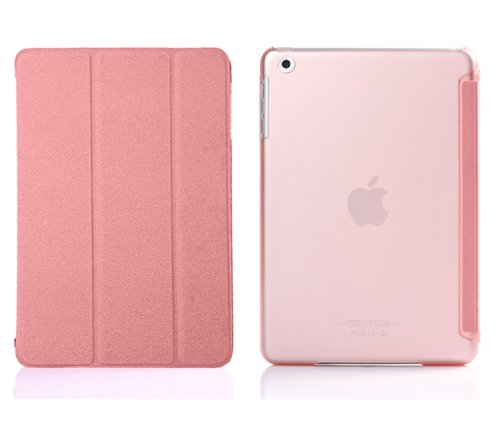 Bear Motion (TM) Premium Folio Case with Stand for Apple iPad Mini (Support Smart Cover Function) (iPad Mini, Pink)