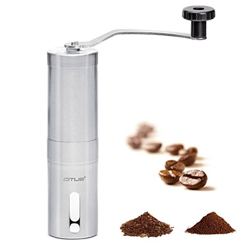 CITUS-Manual-Coffee-Grinder-with-Ceramic-BurrBest-Coffee-Bean-GrinderBrushed-Stainless-Steel-Aeropress-Compatible