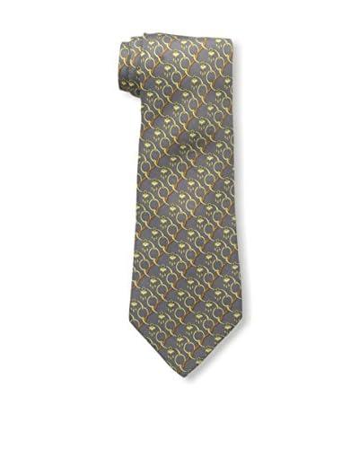 Hermès Men's Patterned Silk Tie, Grey