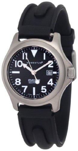 Momentum Atlas TI - Reloj analógico de mujer de cuarzo con correa de goma negra - sumergible a 100 metros