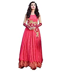 Fashion Web Women's Net Embroidered Semi-Stitched Anarkali Ethnic Gown (fw-136_Pink_Free Size)