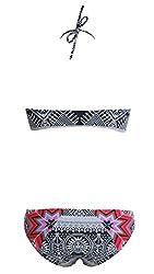 FemPool Women Push Up Halter Tropical Boho Tile Print Tankini Sets Swimwear