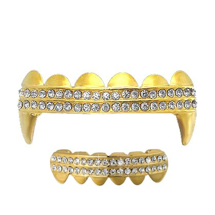 Iced Out 2 Row Gold/Clear Tone Fangs Grillz SET Top/bottom!!!!