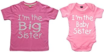 MATCHING BIG SISTER T-SHIRT AND BABY SISTER BODYSUIT GIFT SET' 1-2 years 0-3months