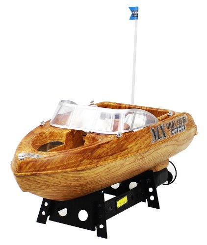 Championship Faux Wood Beach Cruiser Electric RTR RC Boat Full Function Rechargeable Good Quality Remote Control Boat Perfect for Lakes, Ponds, Rivers, and Pools with Mini Tool Box (fs)