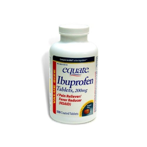 Equate Ibuprofen Pain Reliever 200mg  Coated Tablets, 500-Count Bottle