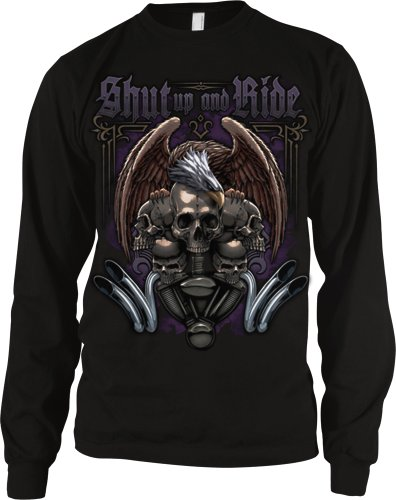 Shut Up And Ride Men's Long Sleeve Thermal, Motorcycle Biker Eagle Skulls and Engine Design Men's Thermal Shirt (Black, Medium)