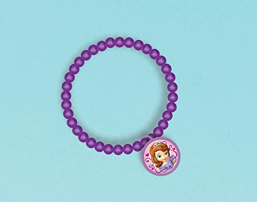 "Amscan Sofia the First Charm Ball Bracelet, Violet, 2 3/4"" - 1"