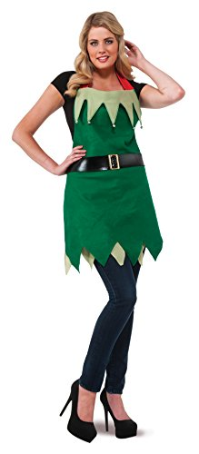 Rubie's Costume Women's Clausplay Christmas Elf Apron with Bells