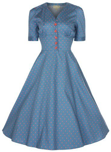 Lindy Bop 'Ionia' Vintage 1950'S Rockabilly Pinup Flared Tea Dress (L, Sea Blue)