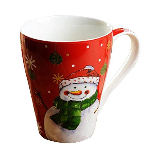 Fantasy Christmas Pattern New Bone Big Handle Mug Coffee Cup With A Gift Box (Snowman Pattern)