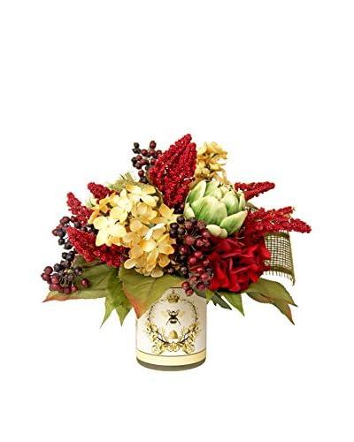 Creative Displays Gold & Burgundy Hydrangeas, Burgundy Astilbe, Berries & Artichokes in Vint...