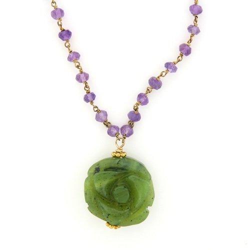 Amethyst & Green Jade Flower Necklace