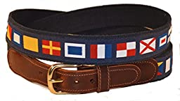 Preston Leather Nautical Code Flag Belt Blue 38