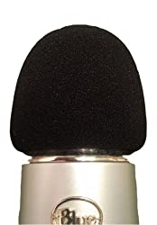 Foam Windscreen for Blue Yeti, MXL, Audio Technica, and Other Large Microphones - Black
