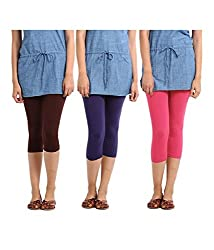 Rooliums Super Fine Cotton Lycra Womens Capri Leggings Combo Pack of 3 (Brown, Purple and Pink) - FREE SIZE