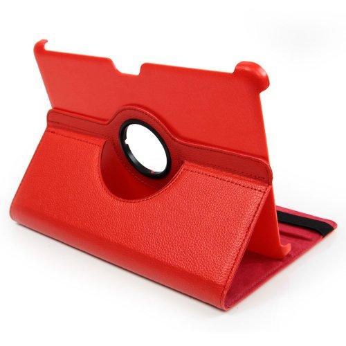 EGO® Premium Tablet Tasche 360° drehbar für Samsung Galaxy Tab 2 10.1 P5100 Rot Flip Case Kunst Leder Book Cover Etui