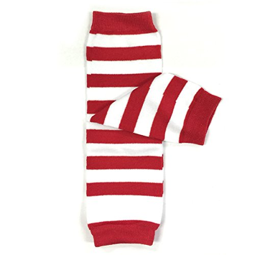 Wrapables Colorful Baby Leg Warmers, Stripes Cherry Red and White
