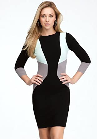 bebe 3/4 Crew Neck Colorblock Dress Sweater Dresses Black/hnydw/strmfrt-xs