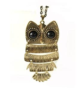 Art deco black eye bronze owl vintage retro Long necklace jewellery pendant